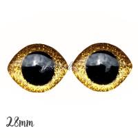 Grands Yeux sécurité ovales pailleté or foncé 28mm pour peluche, pupille ronde (1 paire)