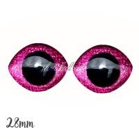 Grands Yeux sécurité ovales pailleté rose 28mm pour peluche, pupille ronde (1 paire)