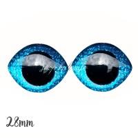 Grands Yeux sécurité ovales pailleté bleu 28mm pour peluche, pupille ronde (1 paire)