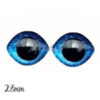Grands Yeux sécurité ovales pailleté bleu foncé 28mm pour peluche, pupille ronde (1 paire)