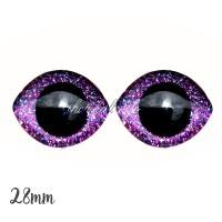 Grands Yeux sécurité ovales pailleté violet 28mm pour peluche, pupille ronde (1 paire)