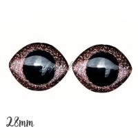Grands Yeux sécurité ovales pailleté marron 28mm pour peluche, pupille ronde (1 paire)