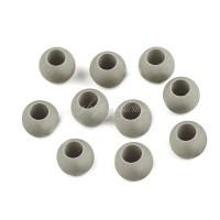 Perle large trou en plastique, 12mm coloris gris (lot de 4 perles)