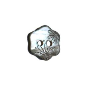 Bouton Fleur Gravée en Nacre, Petit Modèle