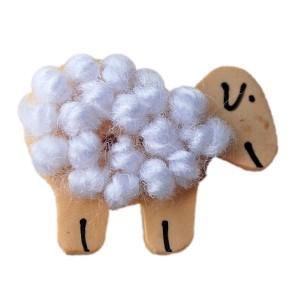 Bouton Mouton Blanc, en Bois et laine